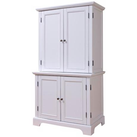 Naples White Computer Desk Office Cabinet with Hutch