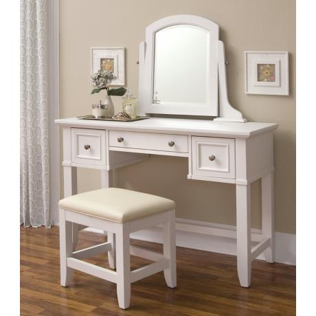 Naples White Vanity Table with Mirror and Bench