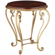 Voila Rouge and Gold Accent Table