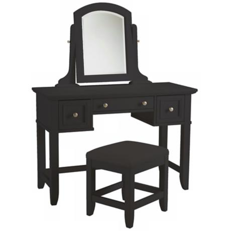 Bedford Ebony Wood Vanity Table & Bench