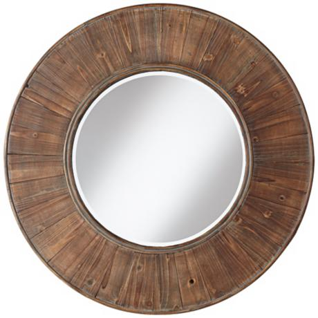 "Easton Wood Panel 31 1/2"" Distressed Wall Mirror"