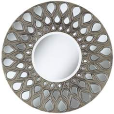 "Silver Teardrop 32"" Round Wall Mirror"