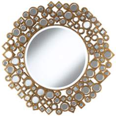 "Jeweled Shapes 35 1/4"" Wide Antique Gold Wall Mirror"