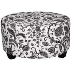 Black and White Domino Round Cocktail Ottoman