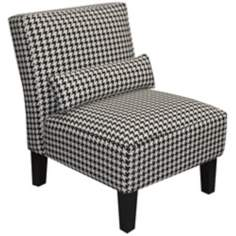 Black and White Berne Upholstered Armless Chair