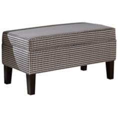 Black and White Berne Upholstered Storage Bench