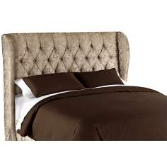 Glow Flax Metal Button Tufted Wingback Headboard