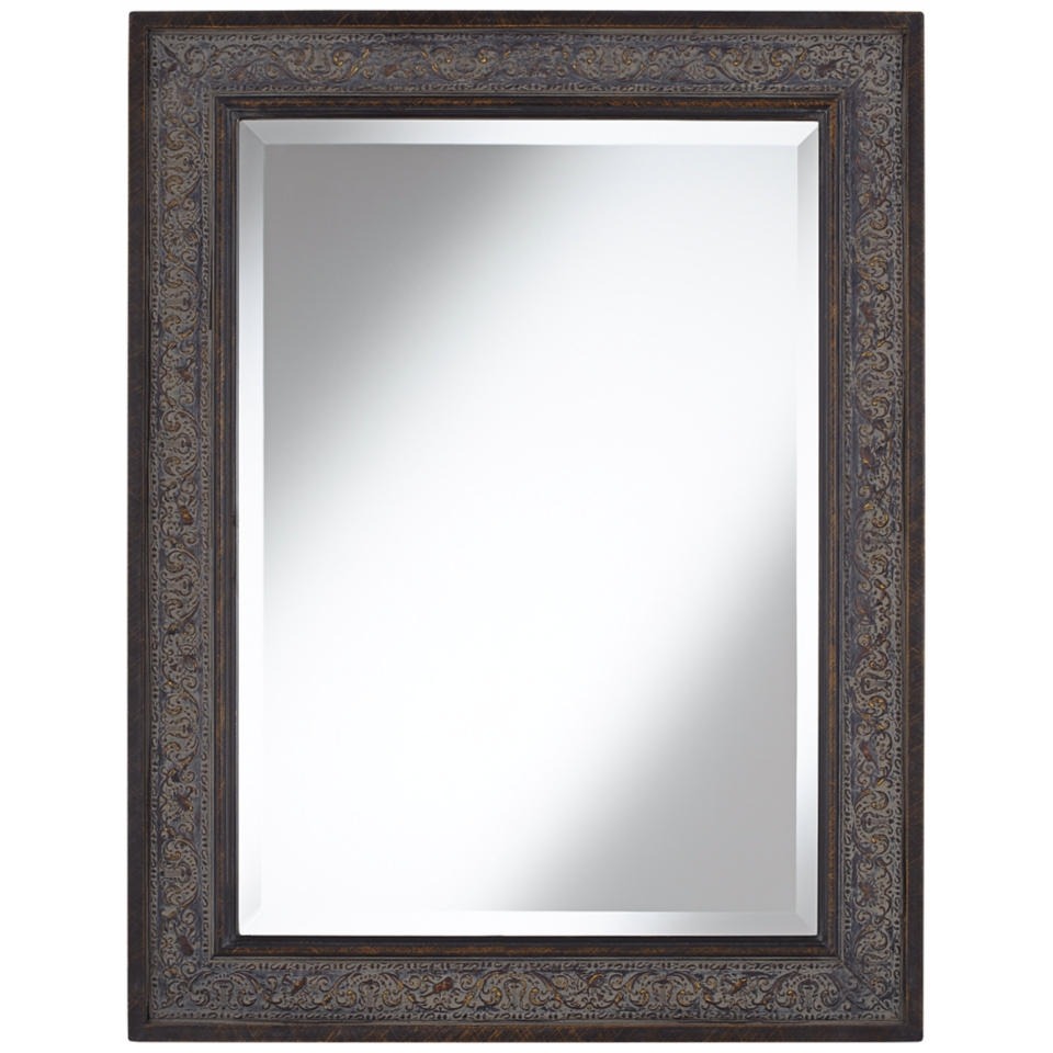 "Brown Leaves 34 1/2"" High Traditional Wall Mirror   #W3900"