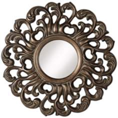 "Ornate Crest Leaf 33 1/4"" High Bronze Wall Mirror"