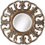 "Openwork 33 1/2"" High Aged Bronze Wall Mirror"