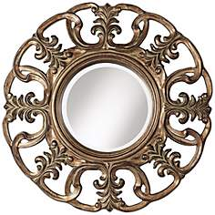 "Lorsica Openwork 33 1/2"" High Aged Bronze Wall Mirror"