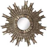 "Arraki Sunburst 33"" High Bronze Clay Wall Mirror"