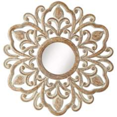 "Provencal Sunburst 32"" High Tan Whitewash Wall Mirror"