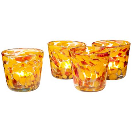 Set of 4 Inferno Spanish Glass Votive Candle Holders