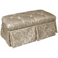 Glow Flax Metal Skirted Shantung Upholstered Storage Bench
