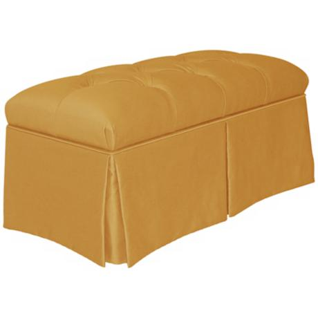 Aztec Gold Skirted Shantung Upholstered Storage Bench