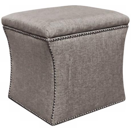 Groupie Pewter Nailhead Trim Upholstered Storage Ottoman
