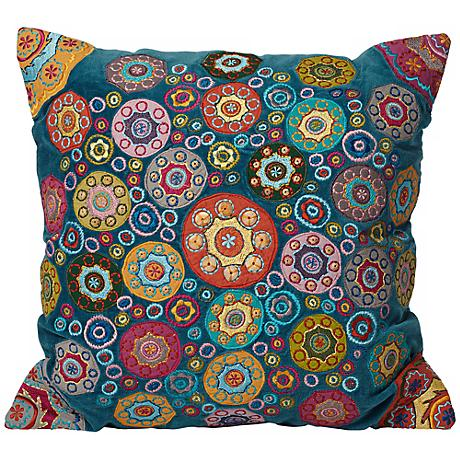 "Teal Mini Mandalas 18"" Square Decorative Accent Pillow"