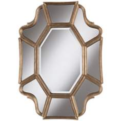 "Scalloped 35"" High Champagne Wall Mirror"