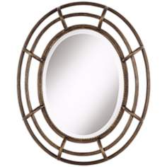 "Open Work Braid 29 1/2"" High Bronze and Gold Wall Mirror"