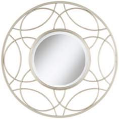 "Open Circles 28 1/2"" High Silver Wall Mirror"