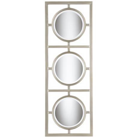 "Tryptic Silver Circle 48"" High Modern Wall Mirror"