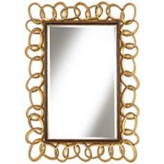 "Chain Link 41 3/4"" High Antique Gold Wall Mirror"