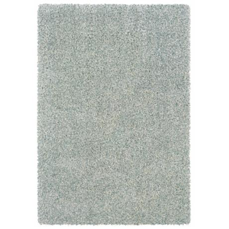 Waves Collection Blue/Ivory Shag Area Rug