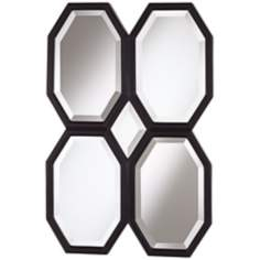 "Quatre Octagons 36"" High Black Wall Mirror"