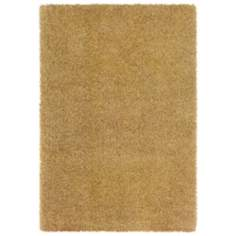 Waves Collection Gold/Ivory Shag Area Rug