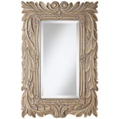 "Acanthus 36"" High Gray Glaze Framed Mirror"