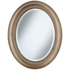 "Cameo Champagne Finish 30 1/2"" High Oval Wall Mirror"