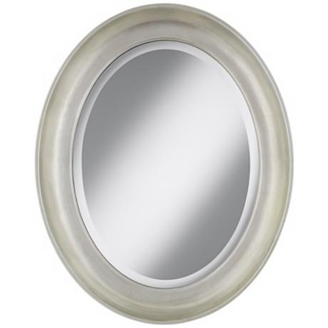 "Cameo Silver Finish 30 1/2"" High Oval Wall Mirror"