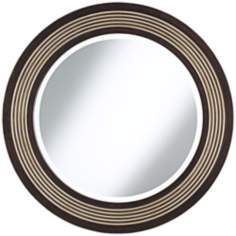 "Diedrich Espresso and Champagne 30"" Round Wall Mirror"