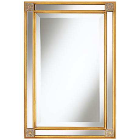 "Corner Medallion 30"" High Gold Wall Mirror"
