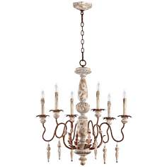 "Quorum La Maison 28"" Wide 6-Light Manchester Grey Chandelier"