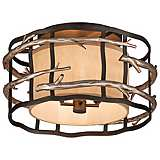"Adirondack 18"" Wide Rustic Silver Leaf Ceiling Light"
