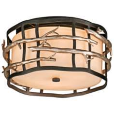 "Adirondack 13"" Wide Rustic Silver Leaf Ceiling Light"