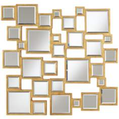 "Abstract Square 25"" Wide Antiqued Gold Mirror"