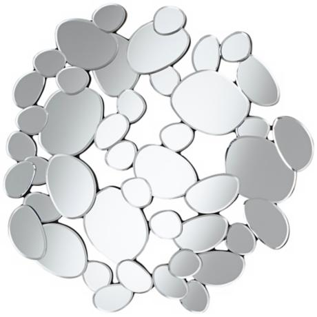 "Abstract Circles 31 1/2"" High Openwork Wall Mirror"