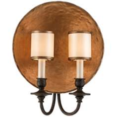 "Cymbal 14 3/4"" High Bronze Leaf Wall Sconce"
