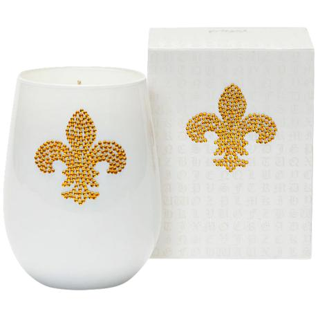 Gold Fleur de Lis Icon Candle in Black Glass