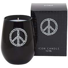 Silver Peace Sign Icon Candle in Black Glass