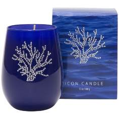 Silver Coral Icon Candle in Blue Glass