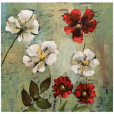 "Wild Cosmos I 30"" Square Hand-Painted Wall Art"