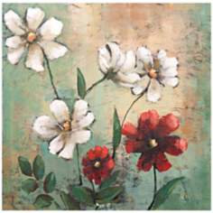 "Wild Cosmos II 30"" Square Hand-Painted Wall Art"