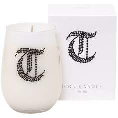 "Letter ""T"" Fragrant Monogram Stemless Wine Glass Candle"