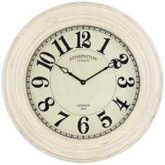 "Kensington Station Ivory Wash 30"" Round Wall Clock"