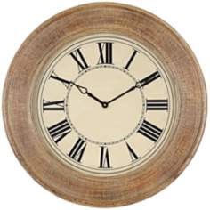 "Embossed Copper Tan 31 1/2"" Round Wall Clock"