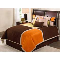 Color Blocks Suede Comforter Bedding Set